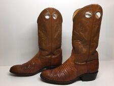 #G MENS JUSTIN BUCKAROO COWBOY LIZARD SKIN LEATHER BROWN BOOTS SIZE 9 D