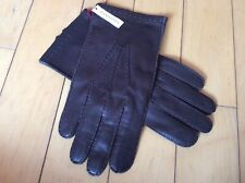 Dents Kingston Mens Hand-Sewn Silk Lined Leather Gloves Brown Size Small NEW