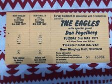 1977 The Eagles Fogelberg concert ticket stub Stafford Uk Hotel California Mint