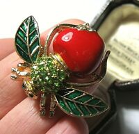 VINTAGE STYLE GORGEOUS ENAMEL CRYSTAL RHINESTONE APPLE BEE PIN BROOCH JEWELLERY