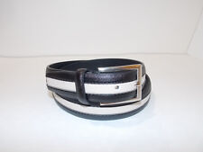 "L Size 38-40 Men's Black & Ivory Leather & Fabric Belt Width 1 1/4"""