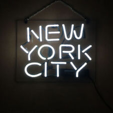 "New York City White Blue Bar Pub Wall Decor Acrylic Neon Light Sign 14"""