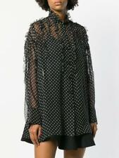 Authentic VALENTINO Black Silk with Ivory Polka-Dot Ruffled Blouse, Retail $1980