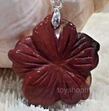 Gemstone Hawaiian Hibiscus Red Mookaite Flower Necklace Silver Chain