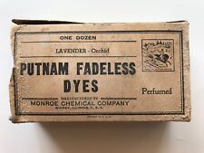 Putnam Fadeless Dyes Vintage Original Shipping Box Full Package, Monroe Chemical