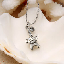 Trendy Love Paris Eiffel Tower Zircon Necklace Chain Jewelry For Women Girls