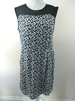 M&S Limited edition dress size 14 black with white cat print cat lovers feline
