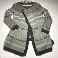 Olive & Oak Women's Open Front Cardigan 1X Gray Blue Stripes Casual Aztec