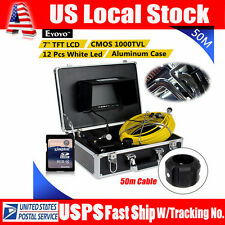50M 164ft Sewer Pipe Pipeline Drain Inspection Snake Camera 8GB DVR w/7