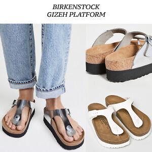 Women Birkenstock Gizeh Platform Papillio Wedge Slides Silver White NEW