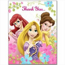 DISNEY Fanciful Princesses THANK YOU NOTES (8) ~ Birthday Party Supplies Pink