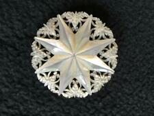 """Vtg Hand Carved Filigree Mother of Pearl Shell Pin Brooch Star 1 5/8"""" Round MOP"""