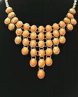 "Vintage Gold Tone & Orange Bib Statement Necklace 20"" adjustable"