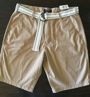 Men's EXPRESS Classic Fit Flat Front Khaki Shorts With Belt Cotton Size 31 NWT