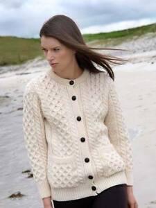 Aran Crafts Traditional Aran Wool Irish Cardigan (Natural White)