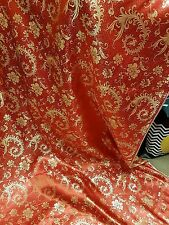 "1M RED /Gold COLOUR floral Chinese Brocade Fabric Shiny Silky,  material 45""wide"