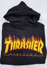 Felpa thrasher magazine replica logo fiammato trasher nera con cappuccio unisex