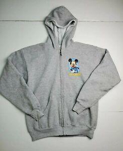 Disneyland Resort Full Zip Sweatshirt Hoodie Gray Mickey Castle Youth Size XL