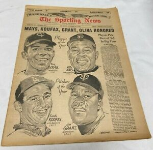 October 30, 1965 The Sporting News Newspaper---Mays--Koufax   Very Good