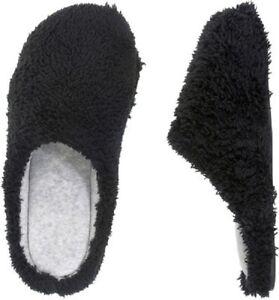 Dearfoams Black Fluffy Terry Clog Slippers w/Gray Velour Lining