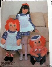 "Vtg 80s BIG Raggedy Ann Andy pattern 36"" girls costume"