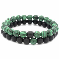 Handmade Natural 8mm Couple Green Matte Malachite Round Stone Beads Bracelet