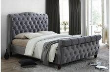 Sophisticated Luxury Sleigh Bed In Deluxe Grey Velvet 6ft Bed Frame Only