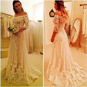 Off Shoulder Applique Beach Wedding Dress Bridal Gown Custom 2 4 6 8 10 12 14 16
