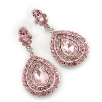 Light Pink Austrian Crystal Teardrop Earrings In Rhodium Plating - 50mm Length