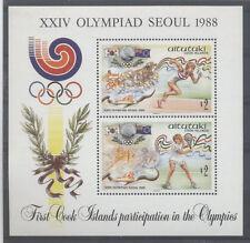 JO SEOUL Aitutaki 1 bloc de 1988 ** COURSE TENNIS OLYMPICS