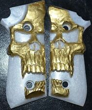 Taurus PT92, 99, 101 pistol grips gold skull on pearl plastic decocker only