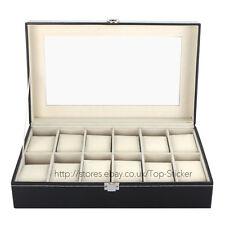12 Leather Watch Box Display Case Organizer Jewelry Storage Holder