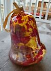 Zorza Polish Handblown Glass Bell Ornament Red and Yellow - New in Box