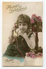c 1926 Cute Kid Child VINTAGE TELEPHONE making a phone call photo postcard