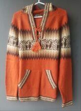 Perù Alpaca Pullover Arancione, Tgl L , Alpaca Lana Lama Reticoli Etnici Inca