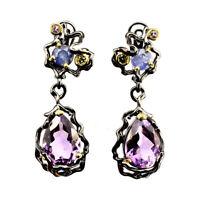 Unheated Pear Purple Amethyst Tanzanite Cz 925 Sterling Silver Earrings