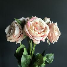 Bunch 5 Realistic Antique Pink Peach Artificial Roses, Luxury Faux Silk Flowers