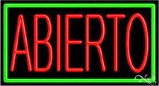 """Brand New """"Abierto"""" Open 37x20x3 W/Border Real Neon Business Sign 11044"""