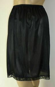 "Black Half Waist Slip 23"" Long Lace Trim Size 10 12 14 16 18 20 Short Underskirt"