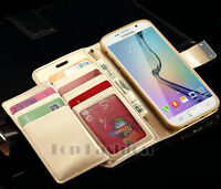 Magnetic Flip Leather Wallet Case Cover Card Holder for Samsung Galaxy S6 S7