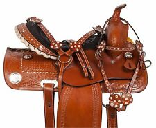 USED 14 15 WESTERN BARREL RACING PLEASURE SHOW HORSE LEATHER SADDLE TACK