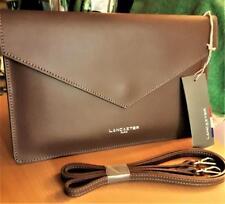 LANCASTER PARIS Pur Smooth Leather Air Clutch + Shoulder Strap ~MINK (BRN) ~NWT!