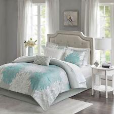 Beautiful Modern Chic Aqua Light Blue Grey White Flower Comforter Set & Sheets