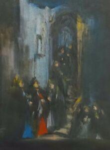 "Goldberg Avraham Signed Pastels ""GOSSIP"" Jewish Painter Israel Paris Art Judaica"