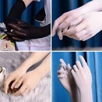 Women Men Sheer long Gloves Ultrathin Five-finger Stockings Gloves Tulle Mittens