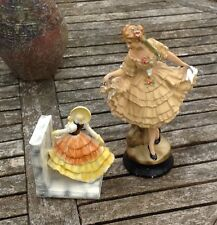 VINTAGE SHOP DISPLAY? CHALK WARE CRINOLINE LADY FIGURE 30/40's + SINGLE BOOKEND