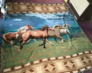 Queen Size Horse Blanket, Afghan, Bed Cover, Wild Stallions, 90 x 92 Inches.