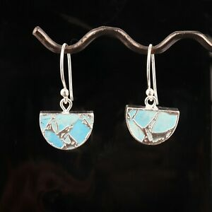 Antique Copper Turquoise Silver Electroplated Handmade Drop Dangle Earring Pairs