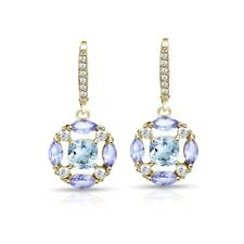 Amethyst, Blue & White Topaz Circle Dangle Earrings in Gold Plated 925 Silver