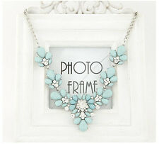 Hot Fashion Charm Cluster Resin Crystal Flowers Choker Bib Statement Necklace